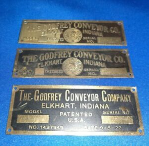 Lot-Of-3-Vintage-The-Godfrey-Conveyor-Co-BrassTags-Elkhart-Indiana-Advertising