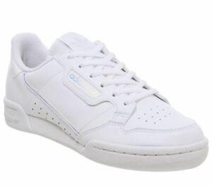 Bambini-Adidas-Continental-anni-039-80-JNR-Scarpe-da-ginnastica-bianco-iridescente-Kids