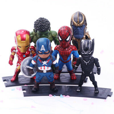6pcs Marvel Avengers 3 Infinity War Black Pather Hulk Thanos Action Figures Toy Eine Hohe Bewunderung Gewinnen