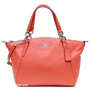 New Coach F36675 Pebble Leather Small Kelsey Satchel-Bright Orange ... fdd0d67393186