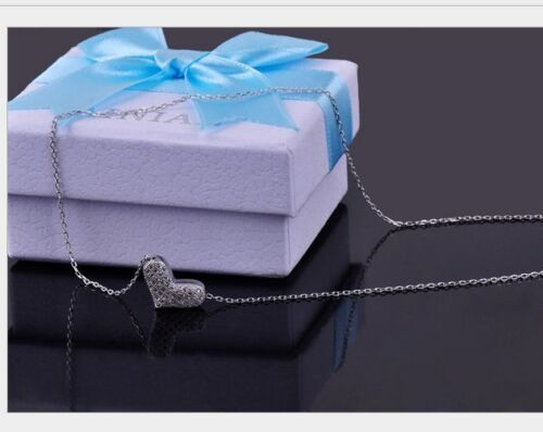 """Sterling Silver CZ Micro Pave Heart Slide Pendant Necklace 18/"""" Chain Gift Box A6"""