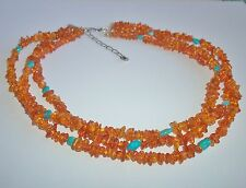JAY KING MINE FINDS DTR BALTIC AMBER BLUE TURQUOISE STERLING SILVER NECKLACE NEW