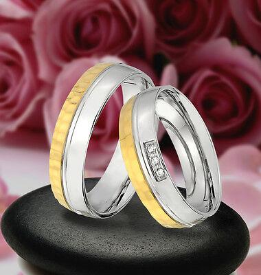 2 Trauringe Verlobungsringe Mit Steine , Gold Platiert & Gravur Gratis - Je203-3