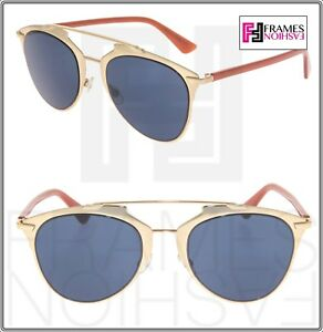 4217a3d9dcd Image is loading CHRISTIAN-DIOR-REFLECTED-Gold-Brick-Blue-Metal-Aviator-