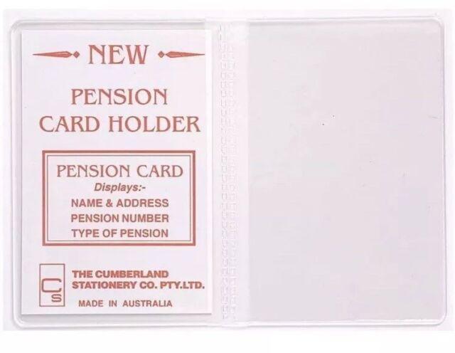5 x Pension Card Holder Clear PVC 100 x 70mm 2 Pockets Cumberland