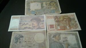 World Old Bank notes France Scarce currency 145 FRANCS 1939/1941/1942/1947/97!!!