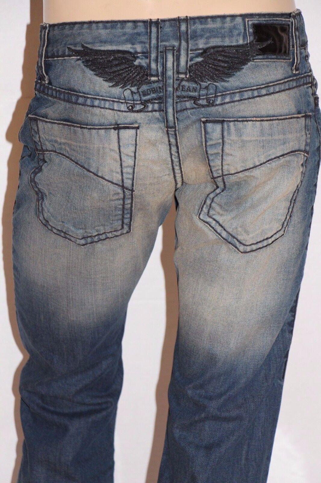 Neu Herren ROTKEHLCHEN Jeans Sz 33  D5669B Gerades Bein -schwarz Schwer Nähte