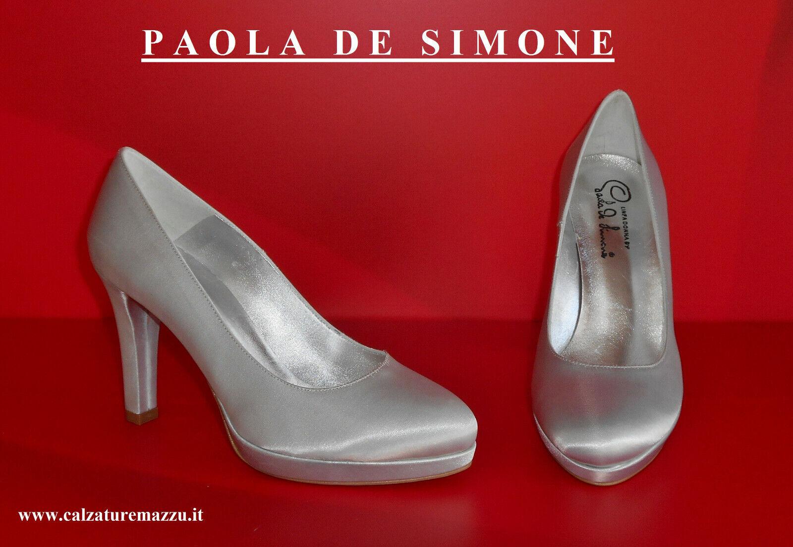 Décolleté    PAOLA DE SIMONE    in Raso argentoO [ - 20 % ]  (PDS 057R.T90 arg)