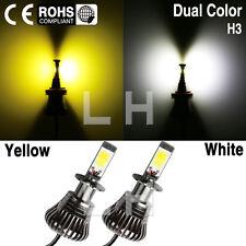 2pcs H3 White Yellow Amber Switch Dual Color 80W LED Bulb Car Fog Driving Light