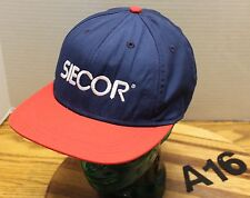 VINTAGE SEICOR CABLE HAT BLUE/RED STRAPBACK BY IMPERIAL HEADWEAR GOOD COND A16