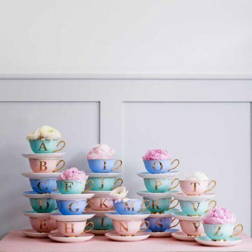 Bombay Duck Alphabet Teacup Monogram Letter Tea Cup /& Saucer A B C E L N R S