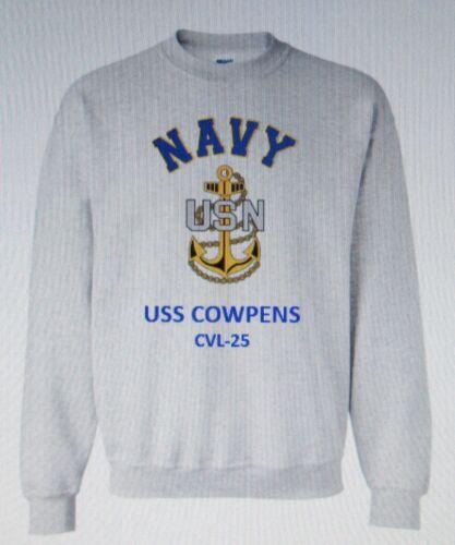 USS COWPENS  CVL-25* AIRCRAFT CARRIER NAVY ANCHOR EMBLEM SWEATSHIRT