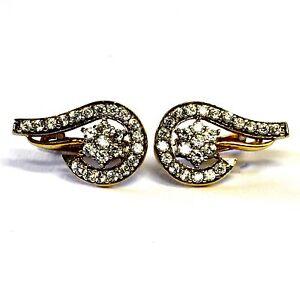 18k-yellow-gold-ladies-cubic-zirconia-swirl-cluster-cz-earrings-estate-4-5g