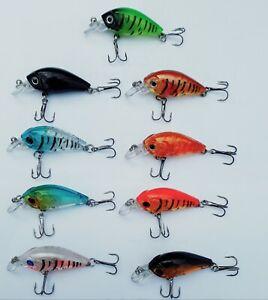 LOT of 9 Fishing Lures Hard Minnow Crankbait Hard Swimbait BASS CRAPPIE