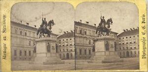 Monumento Di Maximilian Monaco Germania Foto C.Gaudin Stereo Vintage Albumina