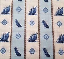 Sail Away BTY Elizabeth Munro Quilting Treasure White Blue Sailboat Nautical