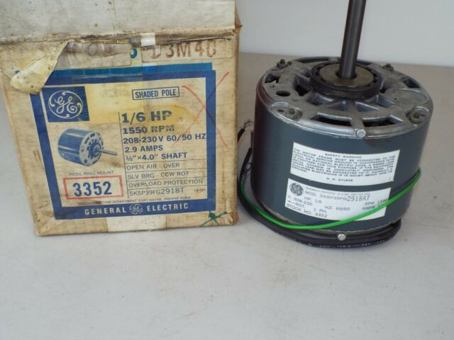 GE Motor 3352 3M401 Shaded Pole 208-230V 1550RPM 1//6HP 5KSP39FG2918AT 1PH ..I76