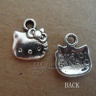 P153 20pcs Tibetan Silver retro Charm Lovely cat Accessories Wholesale
