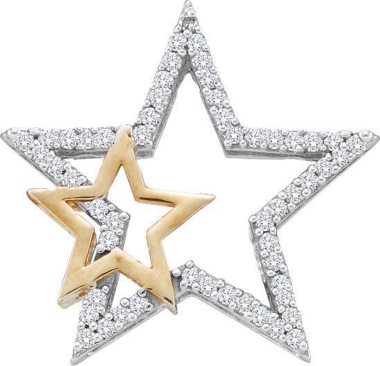 0.15ctw Diamond Star Pendant 10K White & Yellow gold