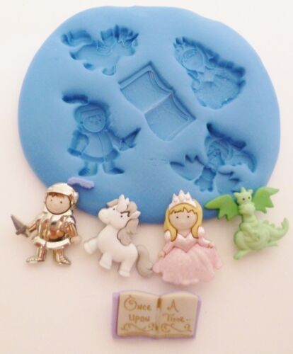 MYTHICAL KNIGHT SILICONE MOULD FOR CAKE TOPPERS CHOC CLAY ETC DRAGON UNICORN