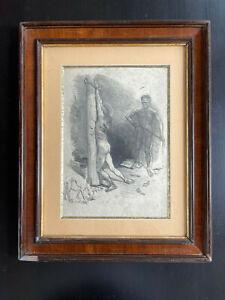 Rare estampe signée Christ à la colonne Adolphe Willette bel encadrement gravure