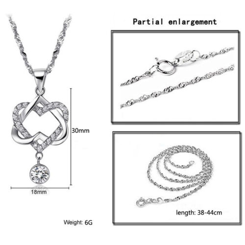 Silver Plated Chain Double Love Heart Pendant Necklace Women Valentine/'s Jewelry