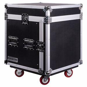 Sound-Town-10-Space-PA-DJ-Pro-Audio-Rack-Road-Case-w-Slant-Mixer-Top-STMR-10UW