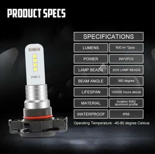 2504 5202 H16 LED Fog Light Conversion Kit Decoder Bulb Super Bright 6000K White