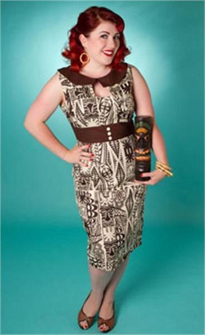 TIKI DRESS - Pencil Dress 1950s style - Hawaiian Tribal Wiggle Vintage Retro