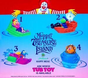 MIP-McDonald-039-s-1996-MUPPET-TREASURE-ISLAND-Tub-Toy-MISS-PIGGY-Fozzie-Bath-CHOOSE