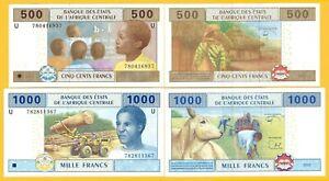 Central-African-States-Set-500-amp-1000-Francs-Cameroon-U-2002-UNC-Banknotes