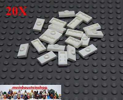 15573 20 x weiß LEGO Konverterplatte 1 x 2 mit Griffrille neu