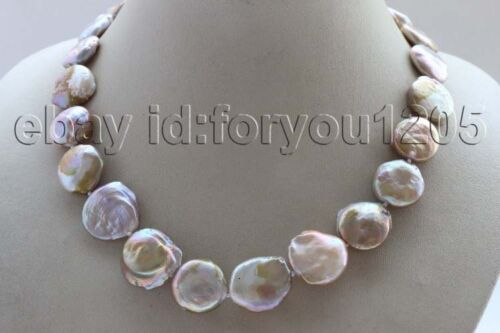 """17.5/"""" Genuine Natural 16-19mm Purple Coin Pearl Necklace 14k #f2680!"""