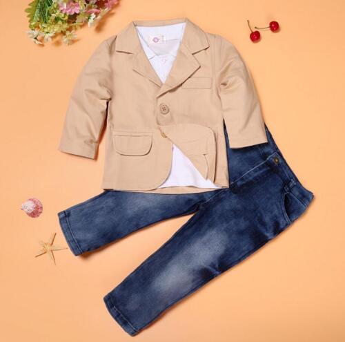 T shirt 3pcs enfants Vêtements bébé Parti Tuxedo Daily Costume Manteau jeans Gentleman