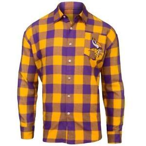 e77c96334 Men s Minnesota Vikings Klew Purple Large Check Flannel Button-Up ...
