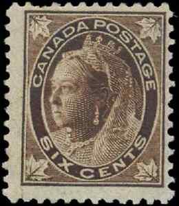 Canada-71-mint-F-OG-H-1897-Queen-Victoria-6c-brown-Maple-Leaf-CV-55-00