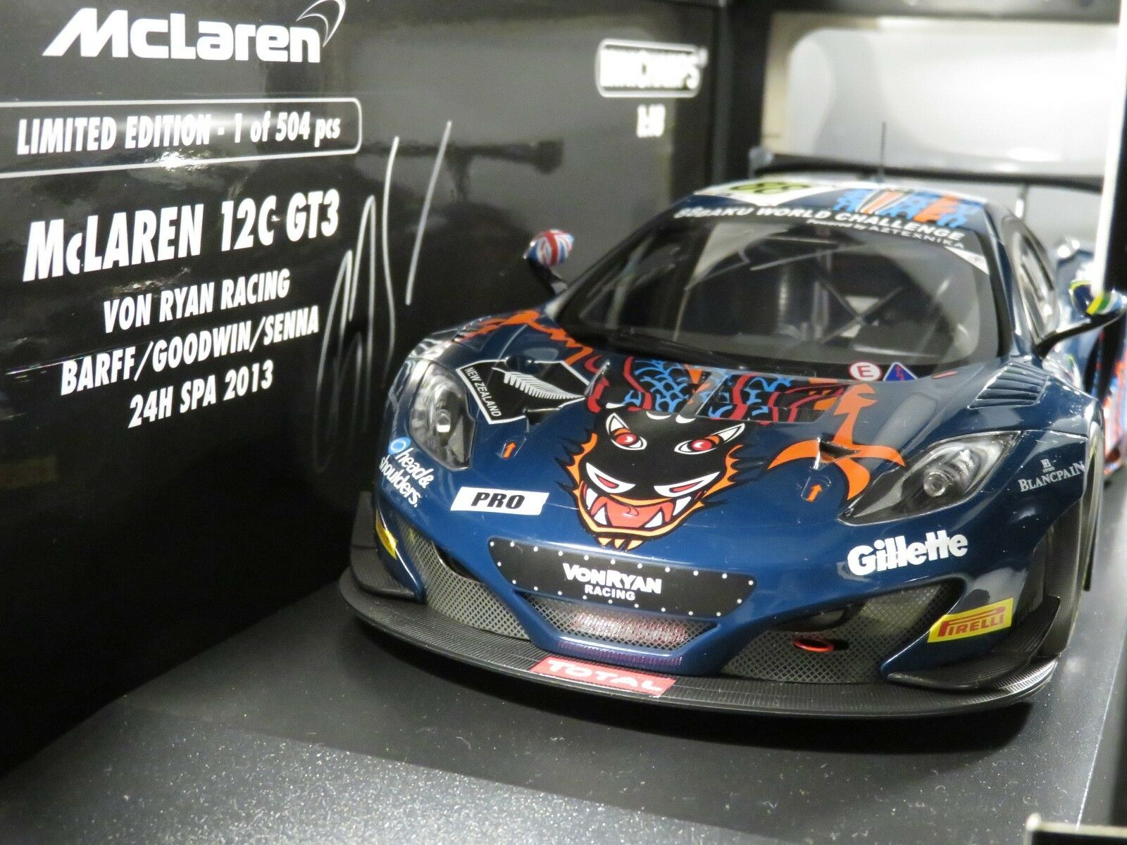 MCLAREN 12C GT3 VON RYAN RACING SPA 2013 signed Bruno SENNA MINICHAMPS 1 18