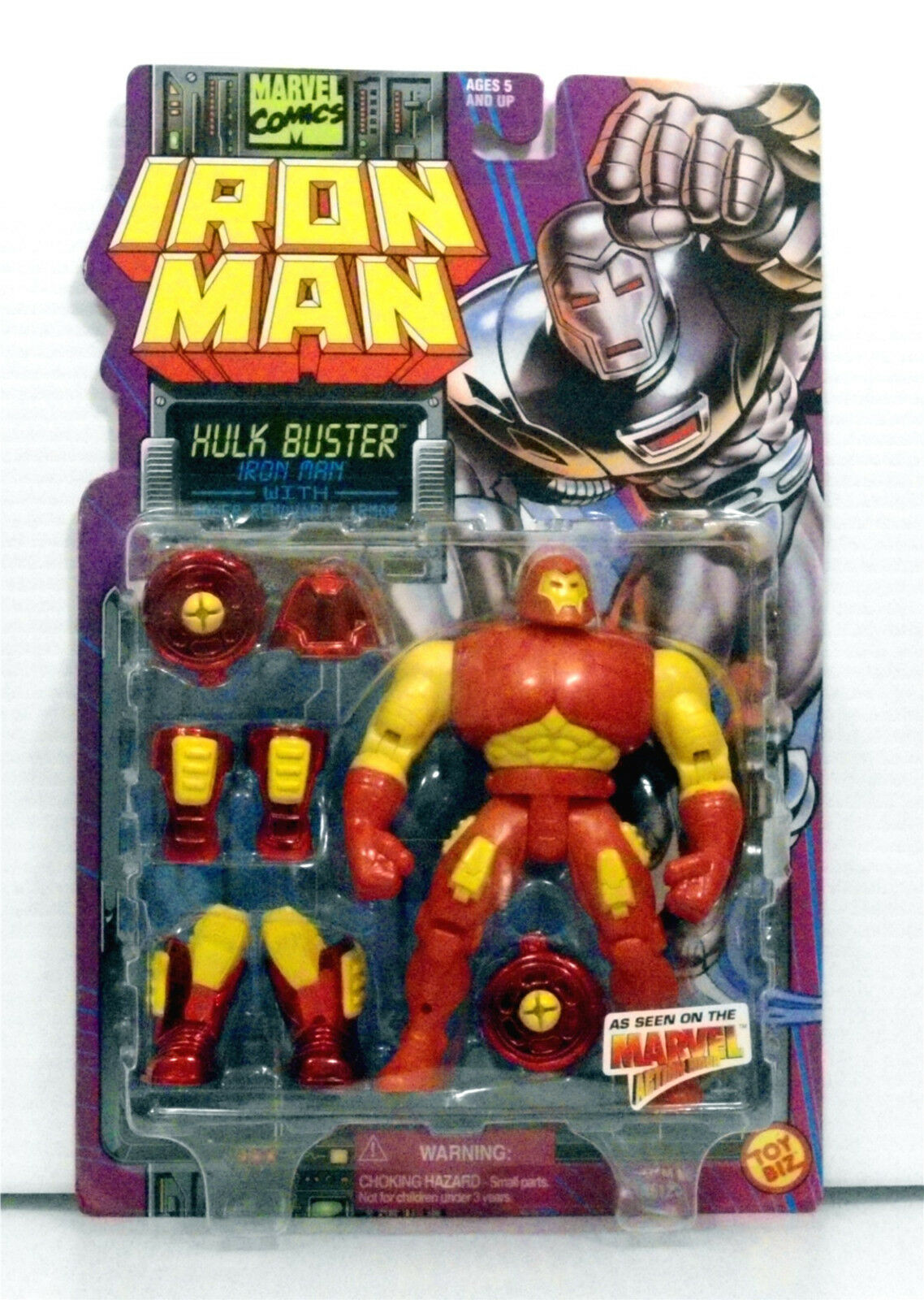 Iron Man Hulk Buster Power Removable Armor Toy Biz 1995 Marvel Action Hour