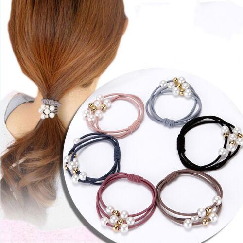 5Pcs Women Girls Hair Ties 7Types Flowers Pearls Hair Band Rope Ponytail Holder