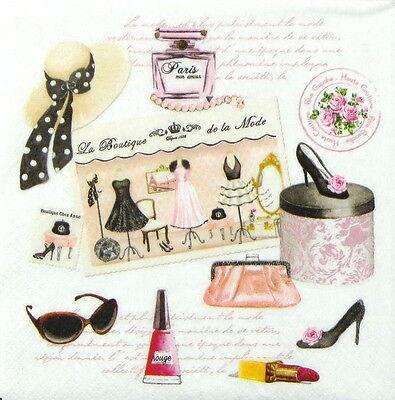 4x Paper Napkins for Decoupage Craft Vintage Haute Couture