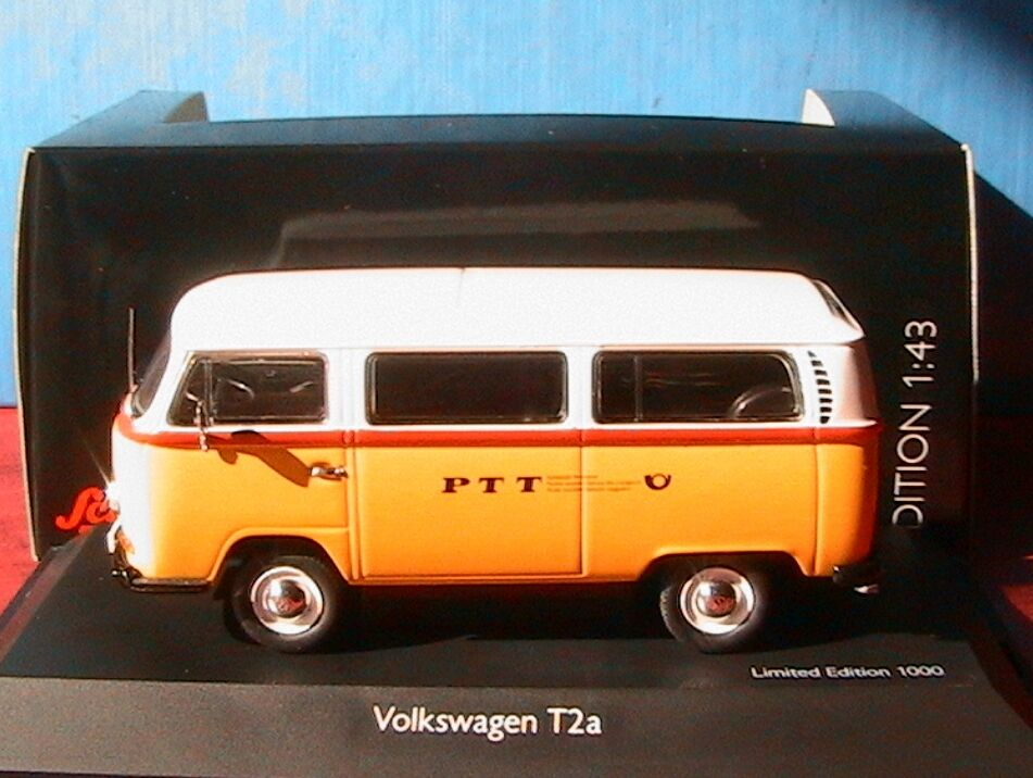 VW VOLKSWAGEN T2A BUS jaune PTT REISEPOST SCHUCO   03496 1 43 LIMITED EDITION