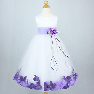 White Lilac Recital Gown Flower Girl Dress Petals Wedding