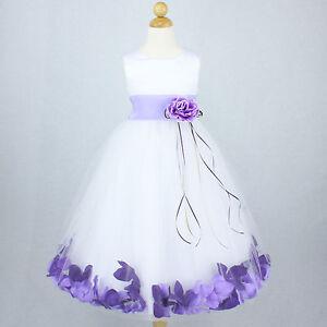 White lilac recital gown flower girl dress petals wedding for White and lilac wedding dress