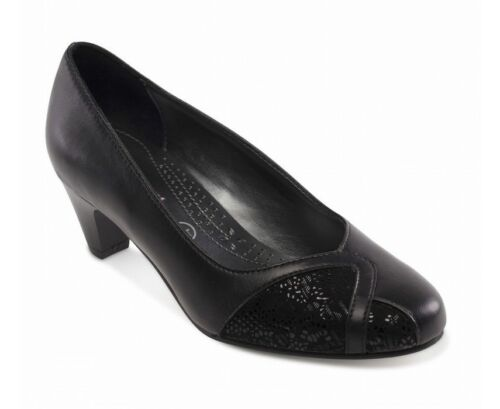 Shoes Combination Ee Fitting Ladies Joanna Court Black Nubuck Leather Padders Bnw6Ozqgx
