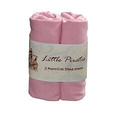 2 x Baby Pram Crib Moses Basket  Flat Sheet 100/% Cotton Pink