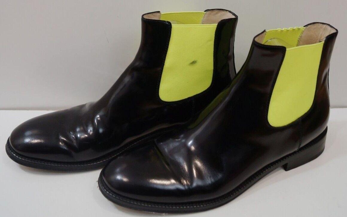 CHRISTOPHER KANE Flugold Black & Yellow Polished Leather Chelsea Boots UK8 EU41