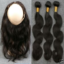360 Lace Frontal Closure With  3Bundle Peruvian Pre Plucked Body Wave Human Hair