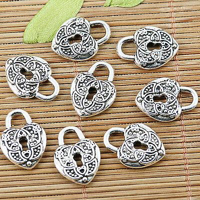 10pcs Tibetan silver plated nice heart lock charm pendants EF1366