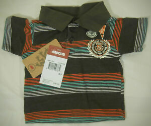 MECCA-Baby-Boy-Size-0-3-Months-Striped-Brown-Short-Sleeve-Polo-Shirt