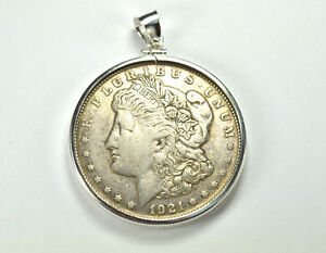 1921 Us Silver Morgan Dollar Coin Bezel Set Pendant Ebay